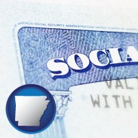 arkansas map icon and a Social Security card