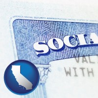 california map icon and a Social Security card