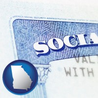 georgia map icon and a Social Security card