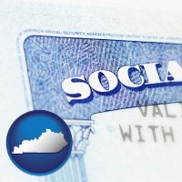 kentucky map icon and a Social Security card