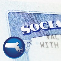massachusetts map icon and a Social Security card