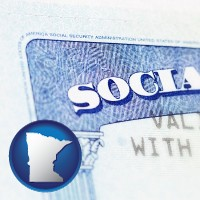 minnesota map icon and a Social Security card