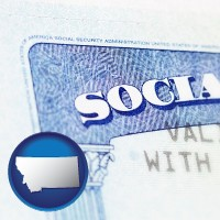 montana map icon and a Social Security card