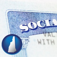 new-hampshire map icon and a Social Security card