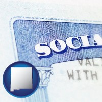 new-mexico map icon and a Social Security card