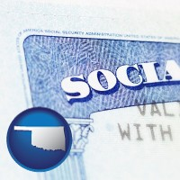 oklahoma map icon and a Social Security card